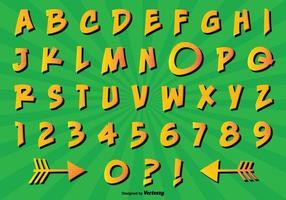 Conjunto de alfabetos de estilos comic