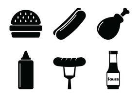 Ícones do vetor do churrasco