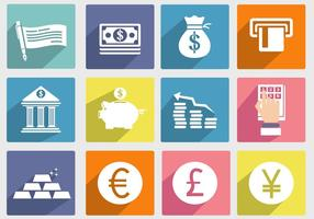 Ícone do vetor do banco e econômico