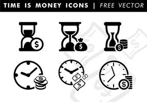 O tempo é ícones de dinheiro Vector grátis