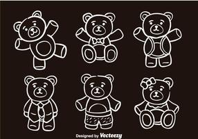 Ícones de vetor de esboço de ursinho de pelúcia