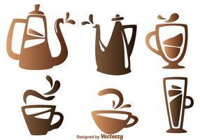 Ícones dos elementos do café vetor