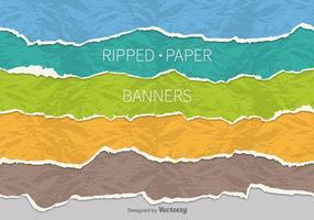 Banners de papel rasgado vetor