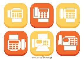 Ícones planos de fax vetor