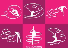 Silhueta de ginasta de acrobacias de vetores