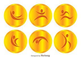 Ícones do Gymnast de ouro do vetor