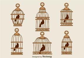 Vetores de gaiola de madeira de pássaro vintage