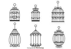 Vetores decorativos de gaiolas de pássaros