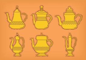 Vetores de pote de café árabe