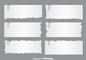 Vetores de notas de papel rasgadas