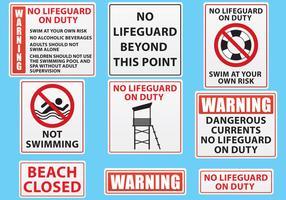 Vetores de sinal de praia e piscina