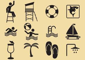Ícones de vetor de praia e piscina