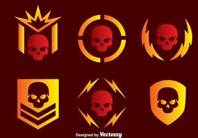 Ícones de vetores militares do crânio