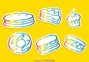 Ícones de contorno de arco-íris de alimentos vetoriais