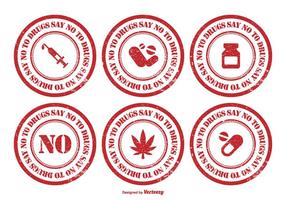Conjunto de selo de borracha Não To Drugs vetor