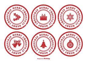 Conjunto de selo de borracha do Natal vetor