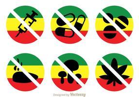 Sem drogas com ícones de cores Rasta vetor