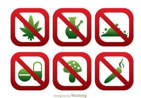 Sem drogas Round Square SIgn Icons vetor