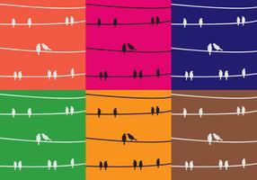 Aves de textura na decoração de arame vetor
