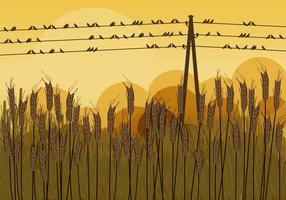 Pássaros em fios no outono vetor