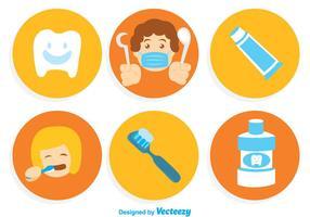 Ícones de desenhos animados de dentes de escovação vetor