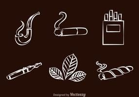 Ícones de linha de fumar vetor