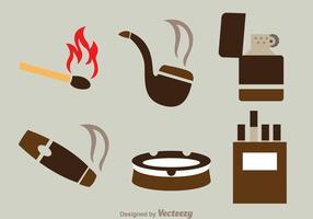 Ícones planos de fumo vetor