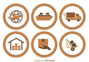 Ícones do círculo de transporte vetor