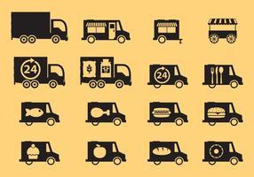 Ícones de caminhões de comida vetor