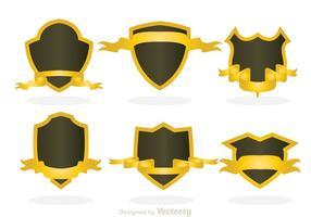 Forma de escudo com fita dourada vetor