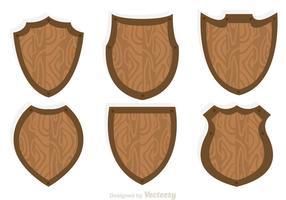 Vetores de ícones de escudo de madeira
