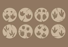Vetores de pegadas de dinossauro