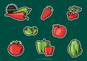 Etiquetas grátis do vetor das frutas e vegetais