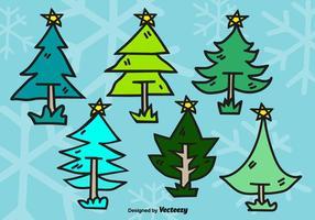 Doodle árvores de natal vetor