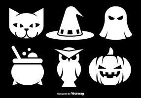 Ícones brancos de Halloween vetor