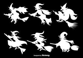 Silhuetas das bruxas brancas vetor