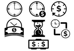 O tempo é ícones de dinheiro vetor