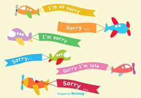 Avião de desenhos animados desculpe vetor