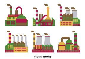 Ícones planos de fábrica vetor