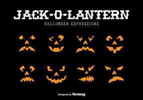 Expressões de Jack-o-Lantern vetor