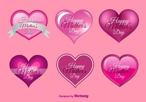 Corações felizes do dia das mães vetor