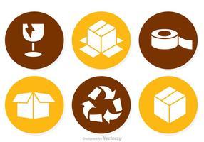Ícones do círculo de embalagem vetor