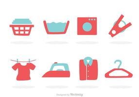 Ícones de lavanderia vetor