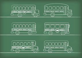 Vetores de ônibus escolares desenhados por giz