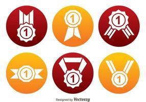 Ícones do círculo da fita do primeiro lugar vetor