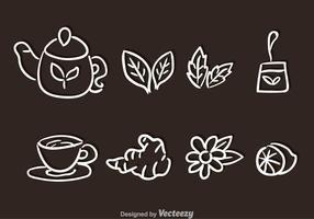 Vetores desenhados a mão de conjunto de chá