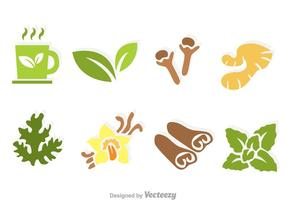 Ícones do vetor do chá de ervas