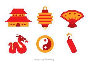 Ícones planos de vetores chineses