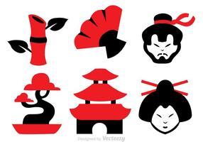 Ícones de vetor de cultura chinesa