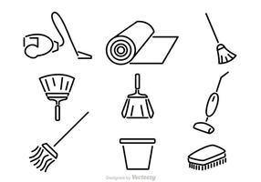 Ícones de vetor de limpeza doméstica